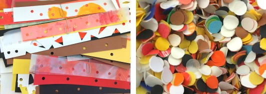 strips of colorful papers paper-clipped together, a bag filled with colorful hole punches.