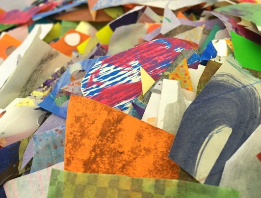 A mountain of collage paper scraps.