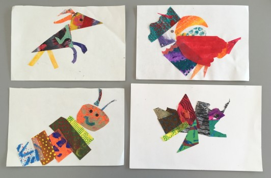 Four collages of different animals- a dog, caterpillar, toucan, and angler fish- made from scrap papers.