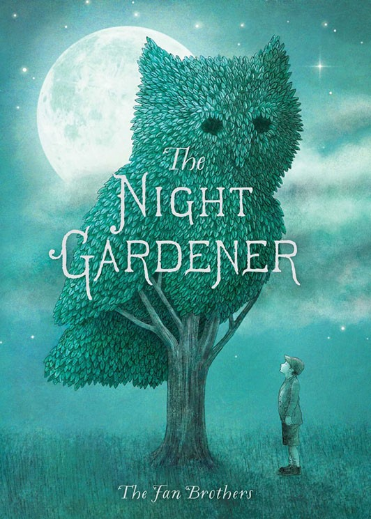 Cover image of the book The Night Gardener showing a large owl topiary in front of a night sky.
