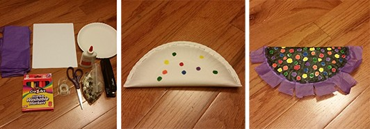 the first shows materials such as glue, scissors, and markers, the second shows a paper plate folded in half and stapled closed, the thir image shows a paper plate folded and stapled with polka dot decorations.