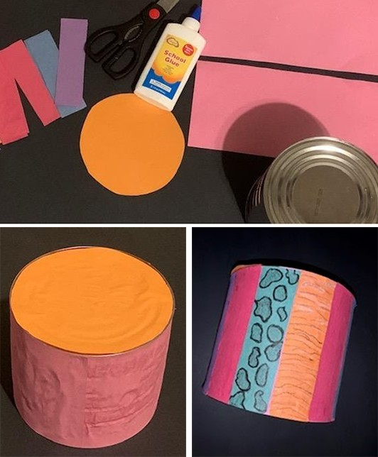 A series of three images showing a drum being made from a tin can and paper.