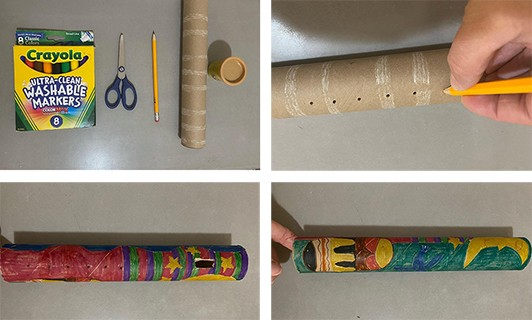 A series of four images showing a cardboard tube transformed into a flute with brightly colored drawings all around.