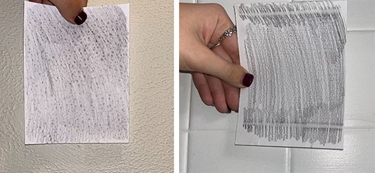 Two images, the first showing a paper with dotted patterns created by a textured wall surface, the second with lined patters created by tiles.