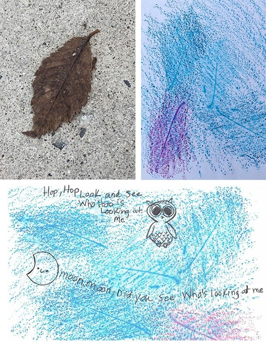 three images, the first showing a leaf on concrete, the second shows the rubbing of the leaf and the bumpy background texture, and the final shows a drawing of an owl with text over the textures.