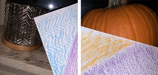 Two images, the first showing a candle holder with a zig-zag pattern alongside a paper with a similar blue pattern, the second image shows a pumpkin next to an orange textured paper.