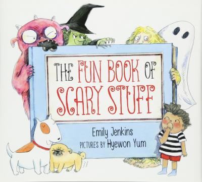 A surprised child looks at a monster, witch, and ghost peering out from the cover of the book.
