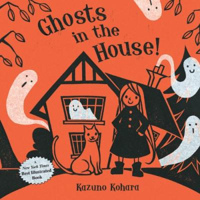 A smiling girl in a black dress stands next to her cat in front of a house full of smiling ghosts.