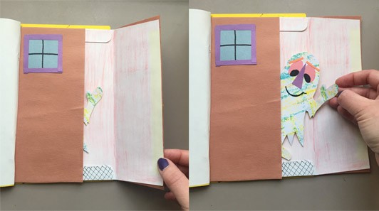 One where the door book is opened and a creature with green patterned hands is sticking out. The second image shows a friendly smiling creature with a triangle purple nose, orange eyebrows, and a green body waves out from the card as a hand pulls the creature out of the door.