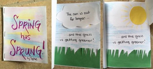 "The first is the front cover of a stapled book where the title is called ""Spring has Sprung!"" by Sophie. The second image shows a nature scene with a cloud, grass, and blue sky. The text says ""The sun is out for longer...""  is written on the cloud and ""...and the grass is getting greener!"" is written in the sky. The third image shows that you can lift the cloud away to reveal a bright yellow sun."
