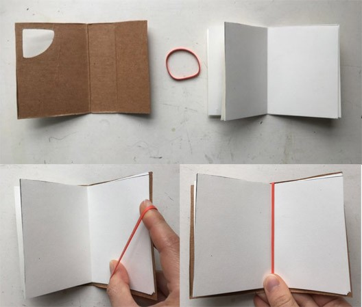 A cardboard cover, rubber band, and stack of papers which, over the three images are turned into a book by stacking the papers inside the cardboard cover then putting a rubber band around the spine of the book.