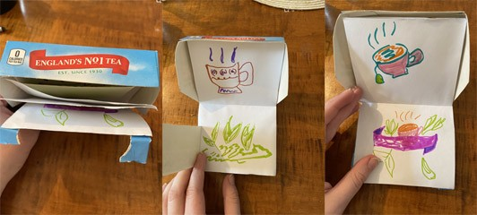Three boxes showing a book made out of a tea box; one image shows the side of the box and how it opens to reveal pages inside, the second shows two of the inside pages of a steaming cup of tea and tea leaves revealed by a lift-flap, and the third picture shows two other pages with a different cup of tea and green tea leaves.