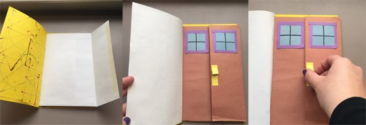 One showing that the yellow stick-and-band book has envelopes as the inside pages. The second and third photos show how one of the envelopes has been turned into a door with a brown construction paper door, blue and purple windows, and a yellow door handle that has been glued to make it raised from the surface. One half of the door is on the envelope flap and one half is on the envelope body so when the door handle is pulled, the door opens.