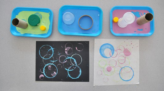 printing circles with found objects