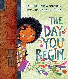 A brown-skinned girl steps into classroom, looking hopeful, holding a purple book with swirls blooming from its pages