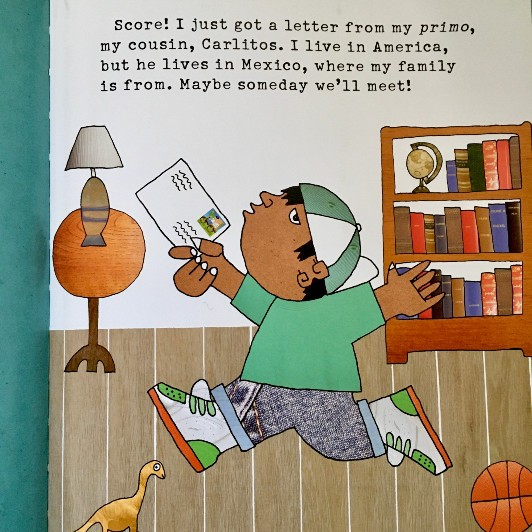 Interior page of Dear Primo shows a boy jumping for joy with a letter in his hand.