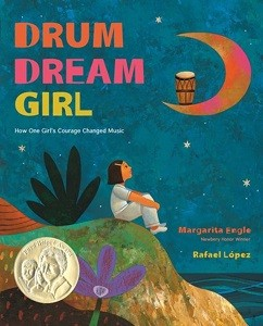 Cover image of Drum Dream Girl shows girl sitting on an island cliff, looking at a drum on the crescent moon.
