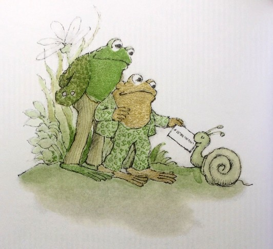 Frog and Toad stand together while Toad takes a letter from Snail.