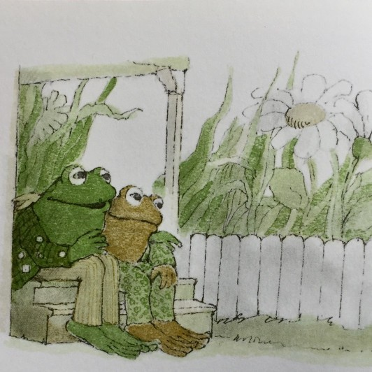 Frog sits with his arm around Toad on Toad?s doorstep.