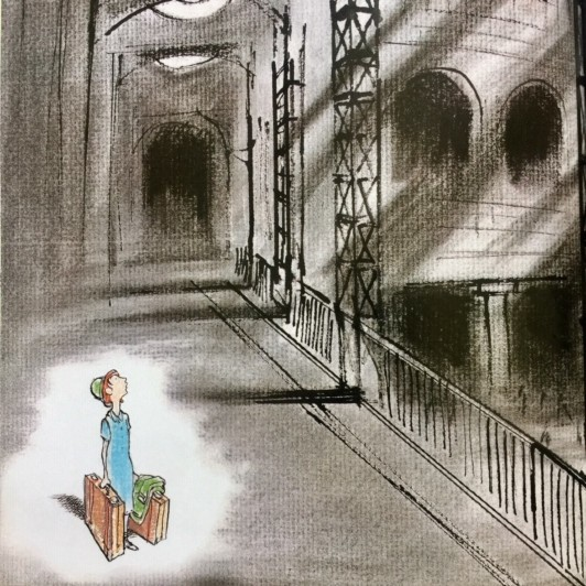A girl with luggage stands alone in big dark train station. She's the only color on the page.