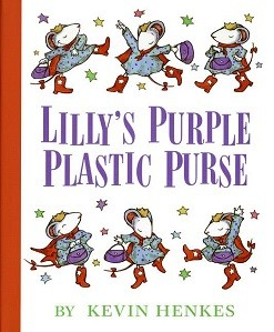 Cover of Lilly?s Purple Plastic Purse shows white mouse dancing with purse