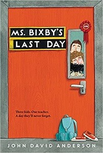 Cover of Ms. Bixby?s Last Day shows three boys peering through the window of an orange door