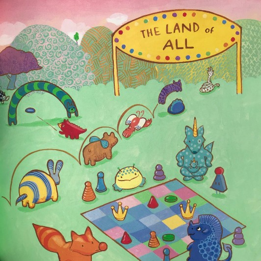 Illustration shows a group of creatures of various sizes, shapes, and colors playing in a green field with multi-colored and textured mountains in the background and a big yellow sign covered in jewels that says, ?The Land of All?.