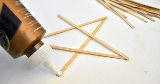 gluing wood and paper stars