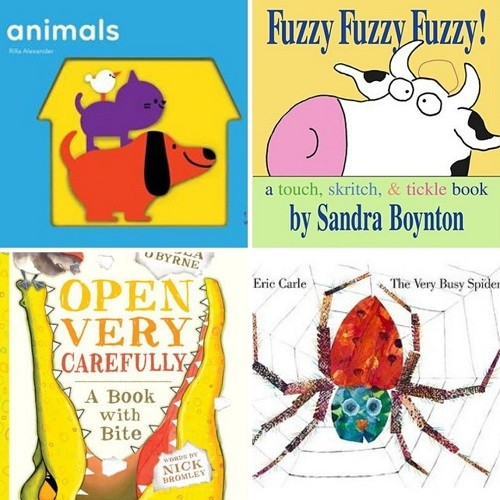 Cover iamges for Animals; Fuzzy Fuzzy Fuzzy; Open Very Carefully; The Very Busy Spider