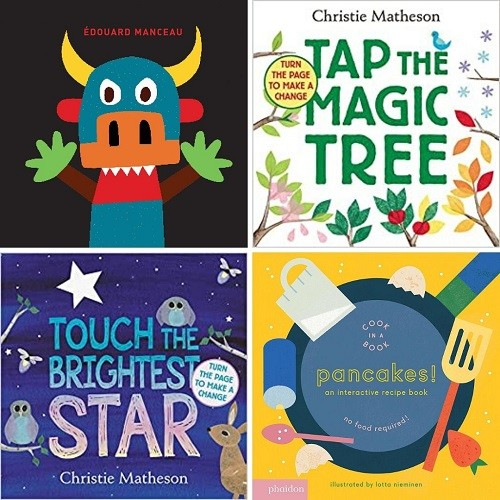 Cover images of Tickle Monster; Tap the Magic Tree; Touch the Brightest Star; Pancakes An Interactive Recipe Book