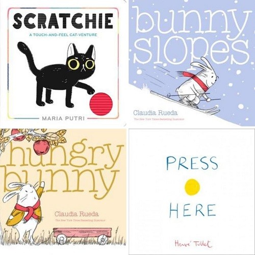 Cover images for Scratchie; Bunny Slopes; Hungry Bunny; Press Here