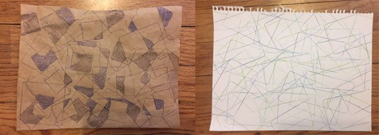 Two tracings from rectangle and square objects, one on black paper where some sections are filled in, one on white paper with just the shape outlines visible.