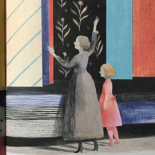 mixed media illustration of mother showing Louise Bourgeois a selection of tapestries