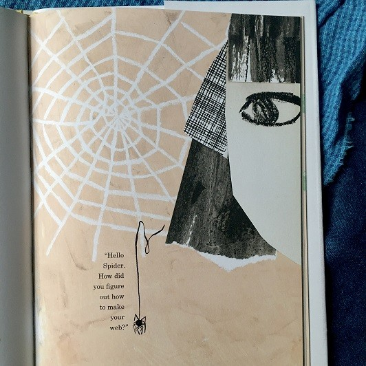 interior page shows spider in a web with close-up eye of girl watching