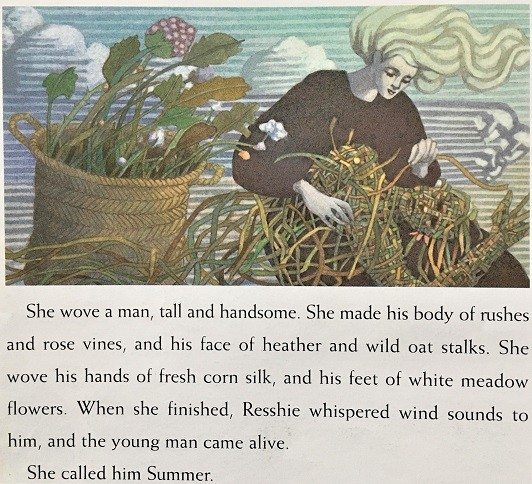 interior page of Wind Child with text and illustration of woman weaving a man out of vines and plants