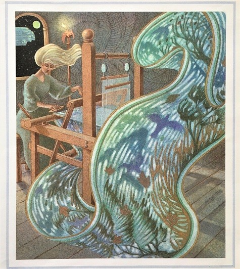 illustration by Leo and Diane Dillon of a white haired woman weaving a tapestry that floats off her loom